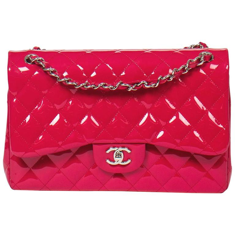 Chanel - Jumbo Fuschia Pink Quilted Patent Leather 1