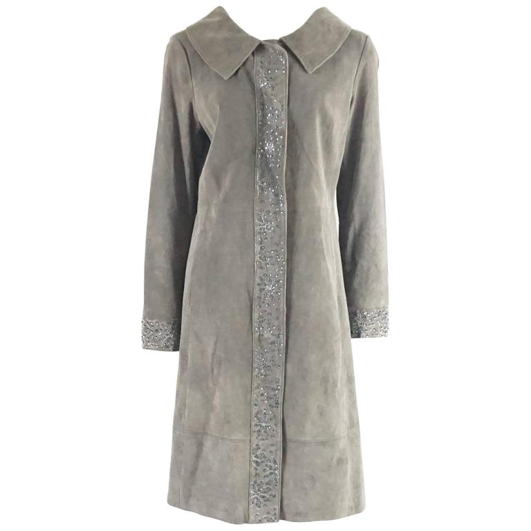 Fendi Grey Suede Full Coat with Sequins Detail - 42 - 1990's  For Sale