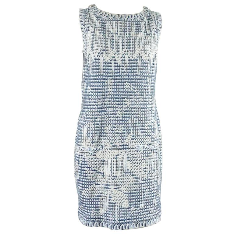 Chanel Blue and White Knit Sleeveless Shift Dress with Pockets - 38 For Sale