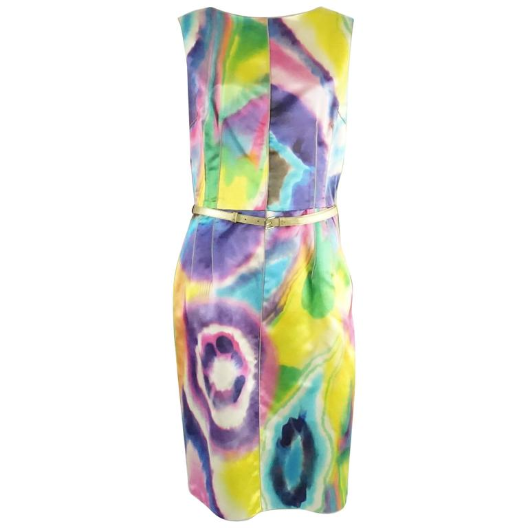 Dolce & Gabbana Multi Silk Tie Dye Print Dress with Pockets - 44 1