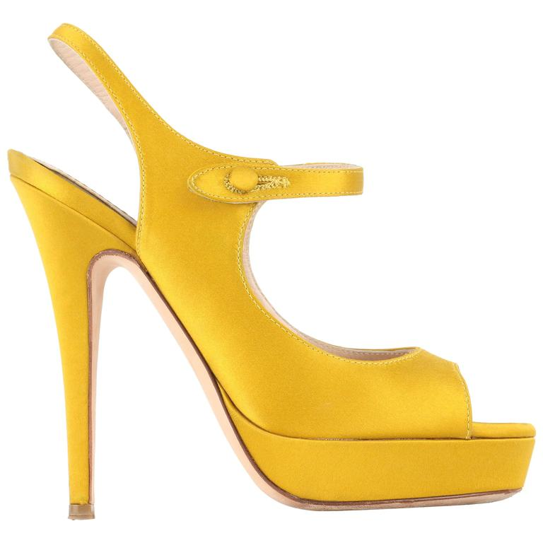 "YVES SAINT LAURENT ""Tribute"" YSL Yellow Topaz Satin Platform Sandal Pumps"
