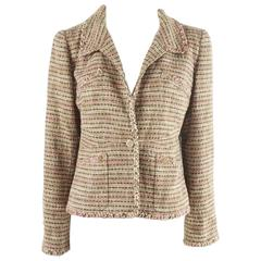 Chanel Brown and Pink Tweed Jacket with 4 Pockets - 42