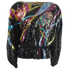 Neil Bieff Multi Sequin Masquerade Theme Blouse - M - 1970's