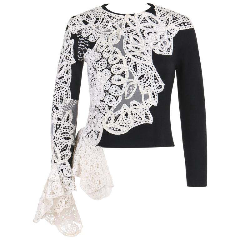 GIANFRANCO FERRE A/W 1988 Black Wool Knit White Avant Garde Lace Applique Top
