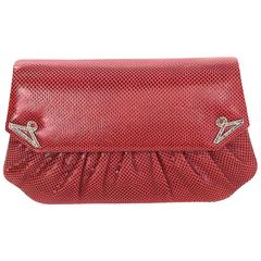 Judith Leiber Red Lizard Clutch/Crossbody Convertible Evening Bag