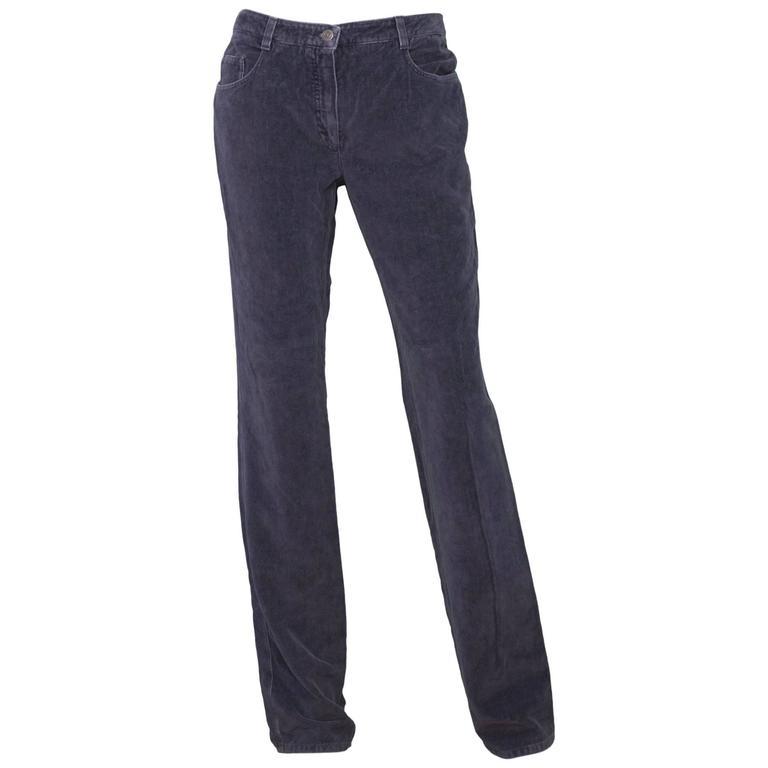 Chanel Grey Corduroy CC Pocket Boot Cut Jeans sz FR42 1