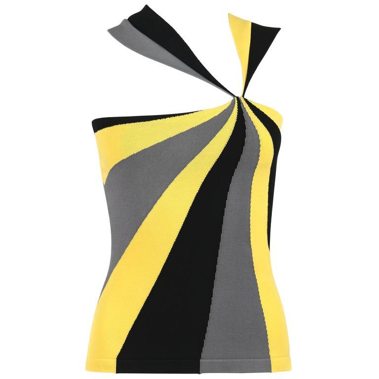 ALEXANDER McQUEEN Resort 2010 Yellow Black Gray Starburst Op Art Knit Tank Top For Sale