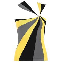 ALEXANDER McQUEEN Resort 2010 Yellow Black Gray Starburst Op Art Knit Tank Top