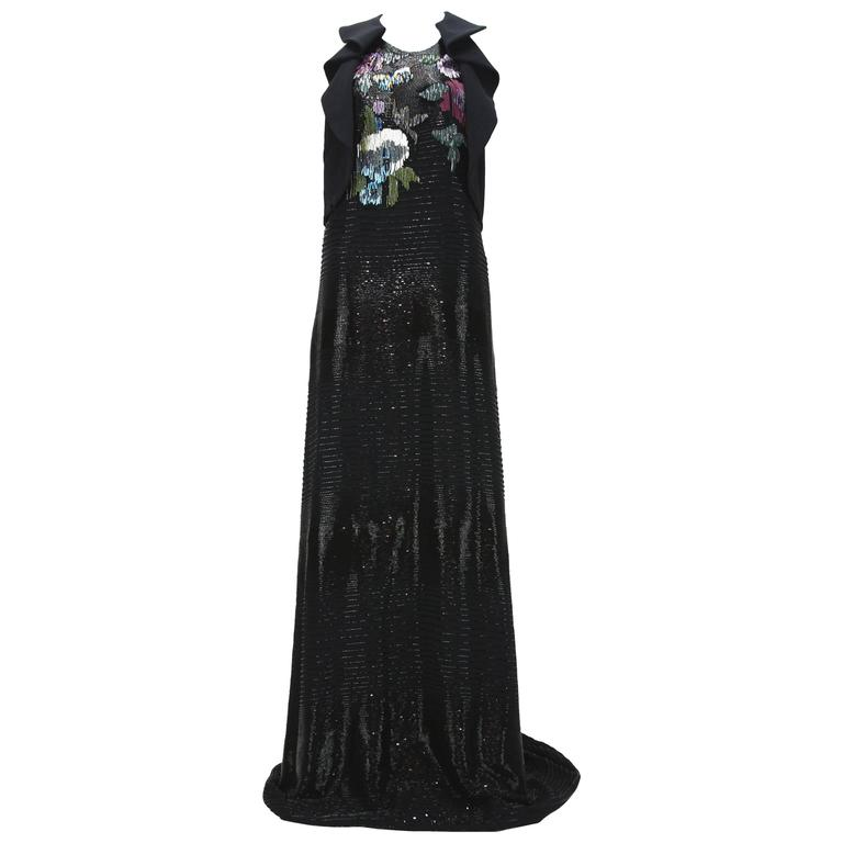New ETRO Runway Fully Beaded Black Gown