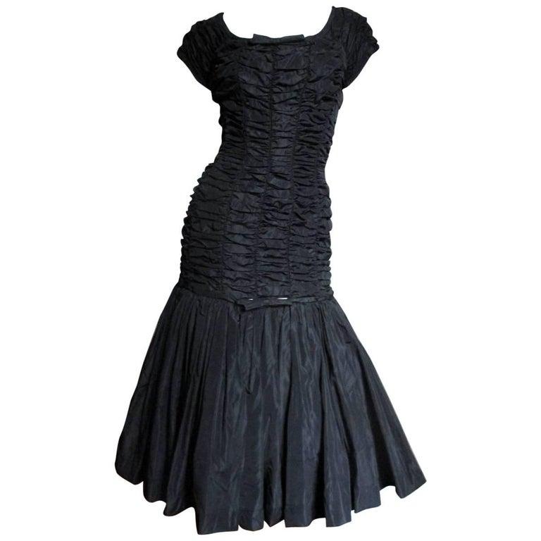 1950's Suzy Perette Drop Waist Ruched Dress