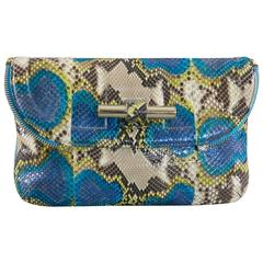 Jimmy Choo Turquoise Blue Python Jasmine Clutch bag