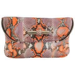Jimmy Choo Pink and Neon Orange Python Jasmine Clutch bag