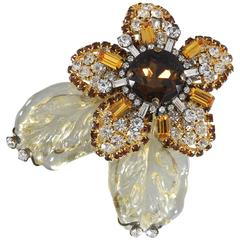 Lawrence VRBA Large Flower Brooch with Yellow Amber Glass rhinestones