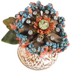 Lawrence VRBA Large vintage style seashell brooch with turquoise and coral