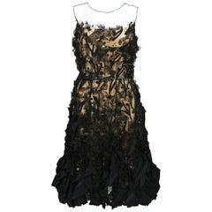 Oscar De La Renta Applique Tulle Organza Cocktail Black Dress 8