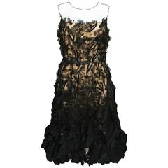 Oscar De La Renta Applique Tulle Organza Cocktail Black Dress