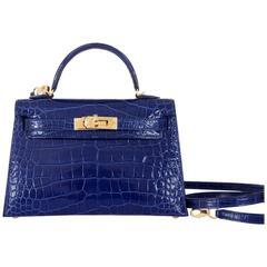 Limited Edition Hermes 20cm Blue Sapphire alligator Mini Sellier Kelly Bag Gold