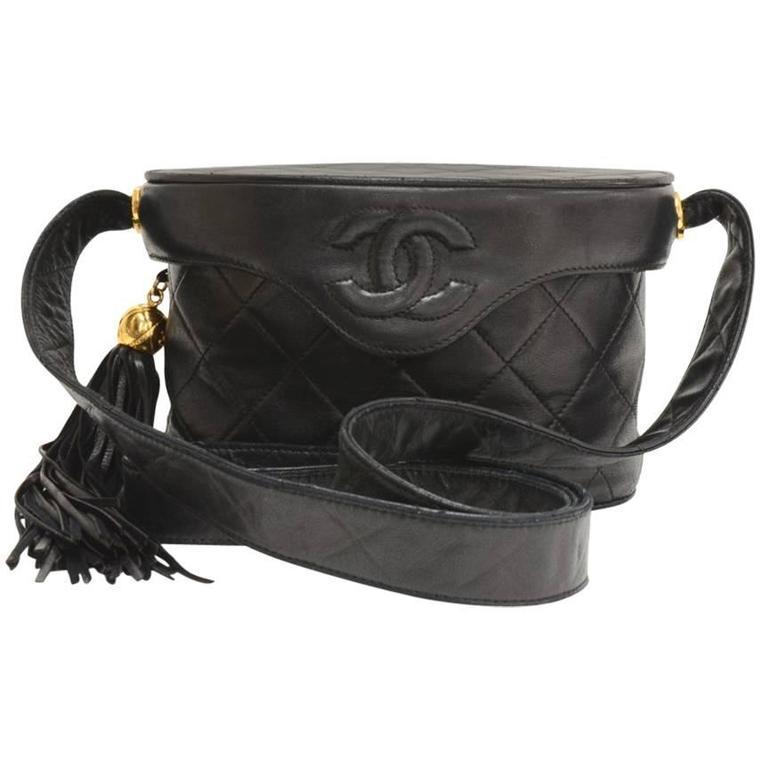 """Chanel 7"""" Black Quilted Leather Fringe Shoulder Pochette Bag"""