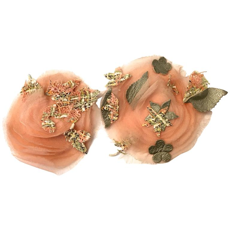2 Matching Chanel Camellia Pins - Pink, Gray, Green For Sale