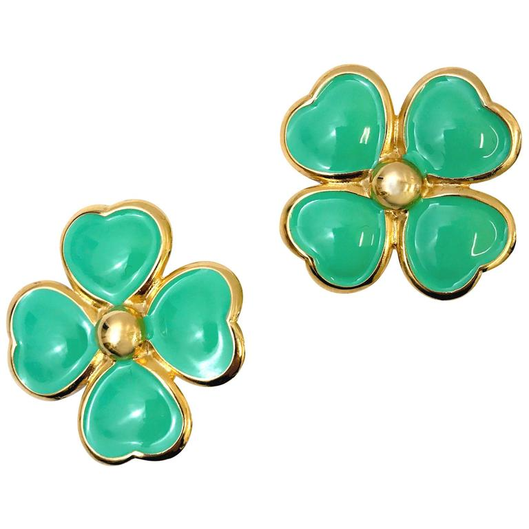 1990s Gianni Versace flower clip on earrings For Sale