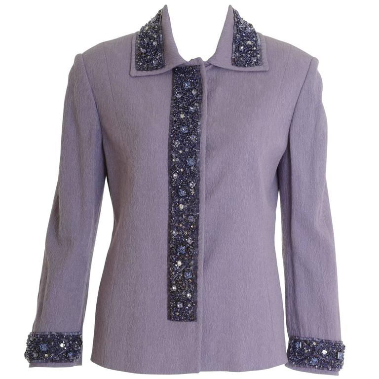 DOLCE & GABBANA Black Lilac Silk Embroidered Jacket