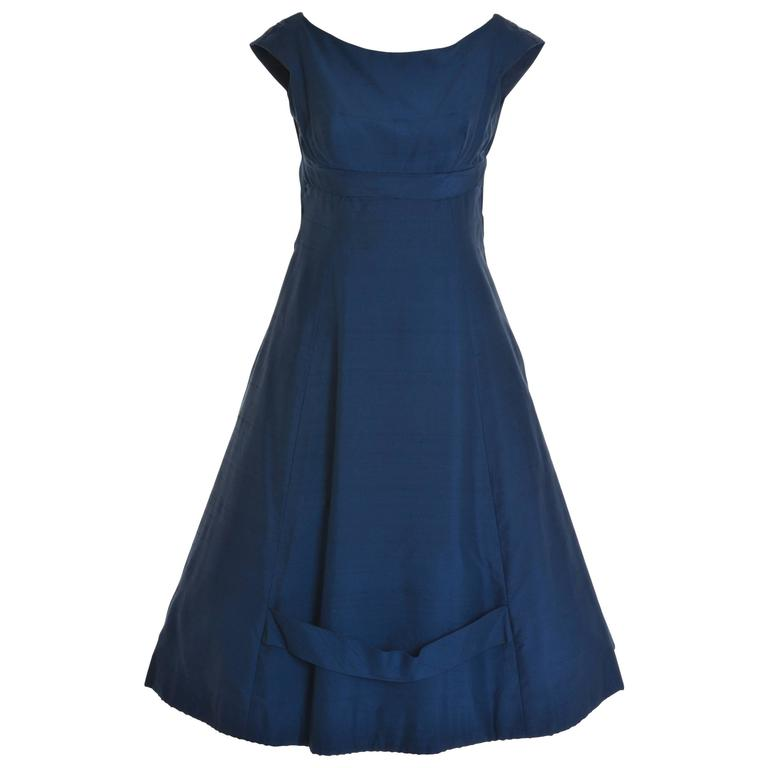 1950s TIZZONI Italian Couture Blue Taffeta Cocktail Dress