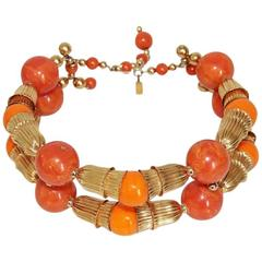 Summer Kenneth Jay Lane necklace coral choker of the 70s