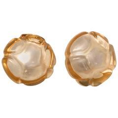 Vintage Chanel Earrings - Camellia Flower