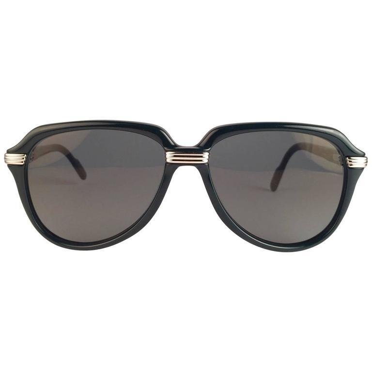 New Cartier Vitesse Green Jade Platinum 58MM Platinum Sunglasses France  For Sale