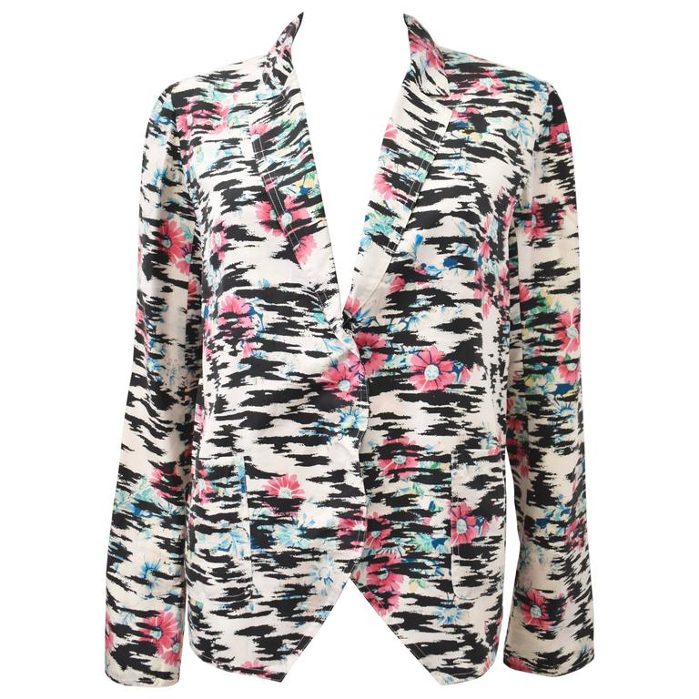 Balenciaga Silk Tiger Print and Floral Blazer Style thin shirt with pointed pane 1