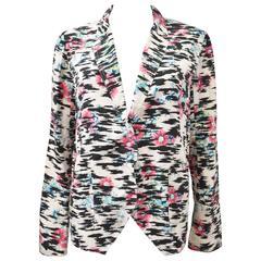 Balenciaga Silk Tiger Print and Floral Blazer Style thin shirt with pointed pane