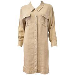 Chanel Beige Linen and Silk Shirt Dress