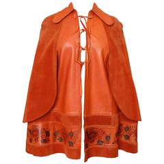 Hand Painted Leather Cape Poncho with Suede Caplets by Char Mexico Festival 70s