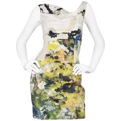 Black Halo Beige Floral Print Sleeveless Dress sz US2