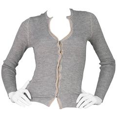 Brunello Cucinelli Grey Cashmere Cardigan Sweater