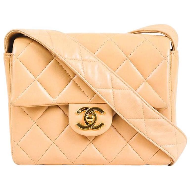 Vintage Chanel Tan Leather Diamond Quilted Box Flap Shoulder Bag 1