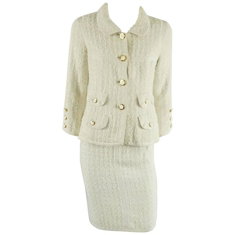aade796e7eb Chanel Cream Tweed Skirt Suit with Camellia Buttons - 34
