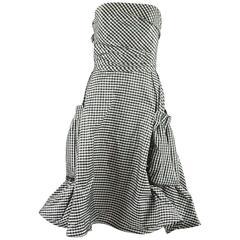 Angel Sanchez Black and White Taffeta Gingham Dress with Pockets - 6