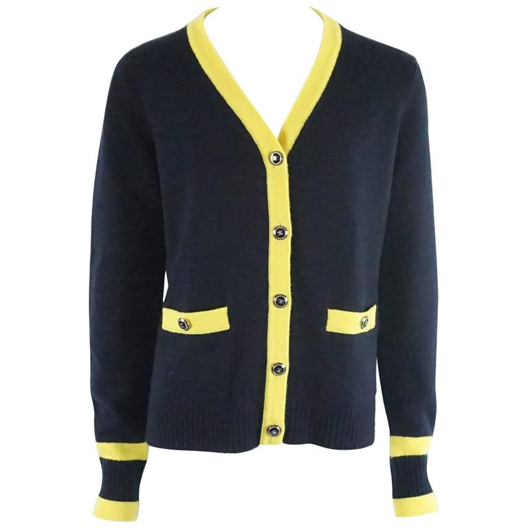 Chanel Navy and Yellow Trim Cashmere Sweater - 42 For Sale