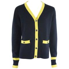 Chanel Navy and Yellow Trim Cashmere Sweater - 42
