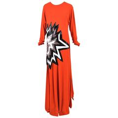 Tom Ford Orange Black & White Long Sleeve Sequined Star Gown