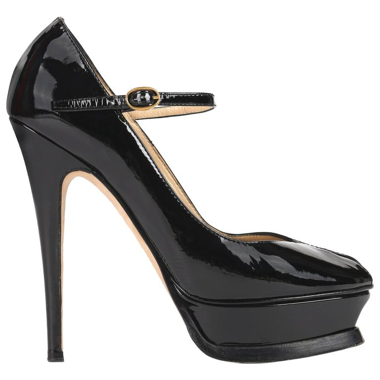 "YVES SAINT LAURENT ""Tribute Mary Jane"" YSL Black Patent Leather Platform Pumps"