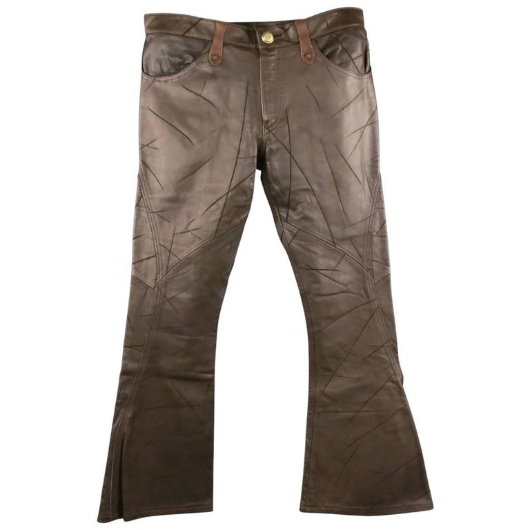 OBELISK Leather Pants - Size 32 Brown Distressed Leather Bell Bottom Jeans For Sale