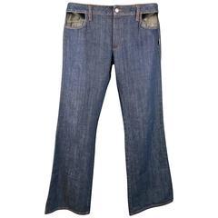 1990's Men's JPG GAULTIER JEANS Size 34 Indigo Denim Pocket Cutout Jeans