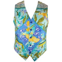 BRENDA KETT 38 Aqua & Purple Tropical Birds Print Silk HERMES Scarf Front Vest