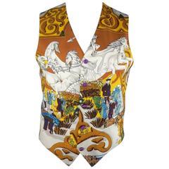 BRENDA KETT 38 Silver & Gold Printed HERMES Scarf Front Silk Vest