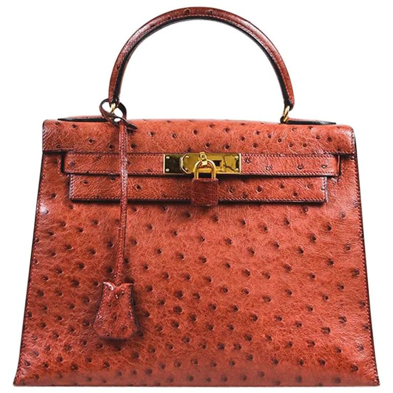 "Vintage Hermes ""Rouge H"" Ostrich Gold Tone ""Kelly Sellier 28"" Top Handle Bag 1"