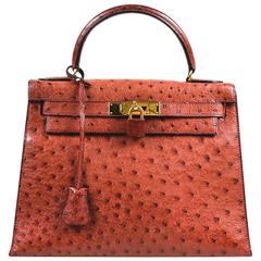 "Vintage Hermes ""Rouge H"" Ostrich Gold Tone ""Kelly Sellier 28"" Top Handle Bag"