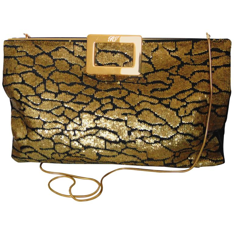 Roger Vivier Clutch 2-Way Evening Bag Gilt Chain with Gold Sequins + Dust  Cover f2fd4debb9d4d