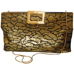 Roger Vivier Clutch 2-Way Evening Bag Gilt Chain with Gold Sequins + Dust Cover